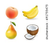 fruit set isolated realistic 3d ... | Shutterstock .eps vector #691755475