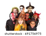 kids with face paint and... | Shutterstock . vector #691756975