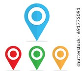 set of bright map pointers. pin ... | Shutterstock .eps vector #691773091