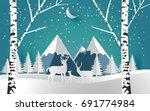 deer and little deer in forest... | Shutterstock .eps vector #691774984