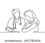 doctor with stethoscope treat... | Shutterstock .eps vector #691782424