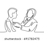 doctor with stethoscope treat... | Shutterstock .eps vector #691782475