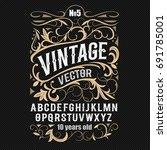vintage label font. alcogol... | Shutterstock .eps vector #691785001