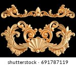 gold ornament on a black... | Shutterstock . vector #691787119