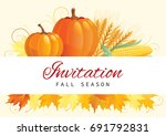 autumn harvest. thanksgiving... | Shutterstock .eps vector #691792831
