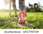 athlete runner or fitness woman ... | Shutterstock . vector #691794739