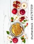 apple  pomegranate and honey ... | Shutterstock . vector #691797559