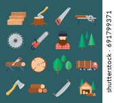 woodcutter icon set. producing... | Shutterstock .eps vector #691799371