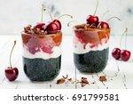 healthy black forest dessert.... | Shutterstock . vector #691799581