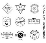 set of vintage barber shop... | Shutterstock .eps vector #691799971