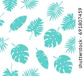 tropical palm leaves  jungle... | Shutterstock .eps vector #691807459