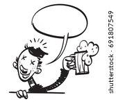 happy man drinking beer. vector ...   Shutterstock .eps vector #691807549