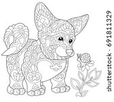 Stock vector coloring page of cardigan welsh corgi puppy dog symbol of chinese new year freehand sketch 691811329