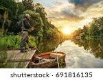 sport fisherman hunting...   Shutterstock . vector #691816135