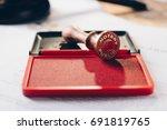 metal notary public ink stamper.... | Shutterstock . vector #691819765