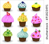 vector set of nine colorful... | Shutterstock .eps vector #691823491
