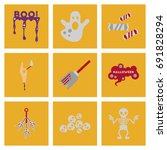 assembly flat icons halloween...   Shutterstock .eps vector #691828294