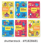 set of thin line circus pattern ... | Shutterstock .eps vector #691828681