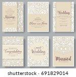 set of white wedding flyer... | Shutterstock .eps vector #691829014