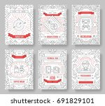 it geeks vector brochure cards... | Shutterstock .eps vector #691829101