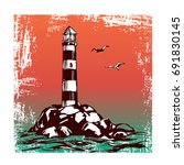 lighthouse and sea landscape... | Shutterstock .eps vector #691830145
