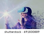 a person in virtual glasses... | Shutterstock . vector #691830889