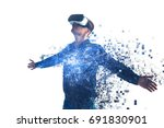 Stock photo a person in virtual glasses flies to pixels the man with glasses of virtual reality future 691830901