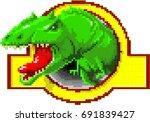 pixel dinosaur. jurassic period....   Shutterstock .eps vector #691839427