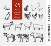 farm animals doodle set for... | Shutterstock .eps vector #691840069