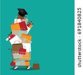 back to school shopping cart... | Shutterstock . vector #691840825