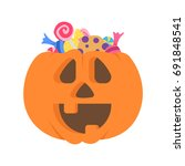 halloween pumpkin with a... | Shutterstock .eps vector #691848541