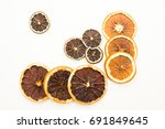 pile of dried citrus circles... | Shutterstock . vector #691849645