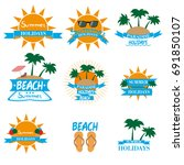 summer set labels  logos... | Shutterstock .eps vector #691850107