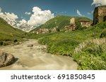 long exposure view of village... | Shutterstock . vector #691850845