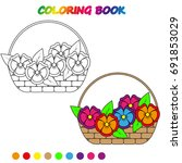 a basket of flowers   ... | Shutterstock .eps vector #691853029