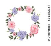 vector flowers beautiful wreath.... | Shutterstock .eps vector #691853167