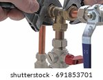 plumber's adjustable wrenches ... | Shutterstock . vector #691853701