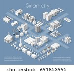 set of modern isometric... | Shutterstock .eps vector #691853995