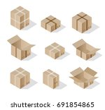 isometric set 3d gift box... | Shutterstock .eps vector #691854865