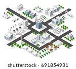 set of modern isometric... | Shutterstock .eps vector #691854931