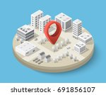 isometric pin icon on the... | Shutterstock .eps vector #691856107