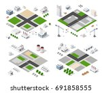 set of modern isometric... | Shutterstock .eps vector #691858555