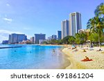 hawaii waikiki beach | Shutterstock . vector #691861204