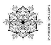 mandala. black and white... | Shutterstock .eps vector #691862041
