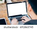 business man using laptop on... | Shutterstock . vector #691863745
