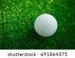 golf ball with putter on green...   Shutterstock . vector #691864375