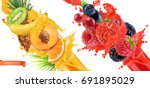 fruit burst. splash of juice.... | Shutterstock .eps vector #691895029