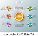 vector abstract 3d paper... | Shutterstock .eps vector #691896859