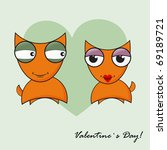 love date of two foxes | Shutterstock .eps vector #69189721