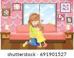 mother and daughter hug in... | Shutterstock .eps vector #691901527